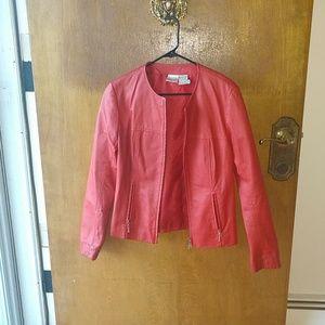 Red leather blazer jacket
